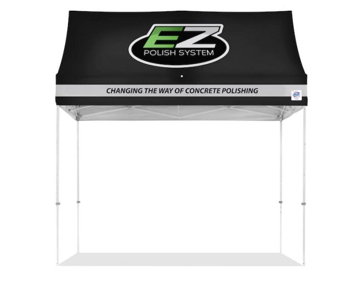 E-Z UP Hut with custom logos printed on top