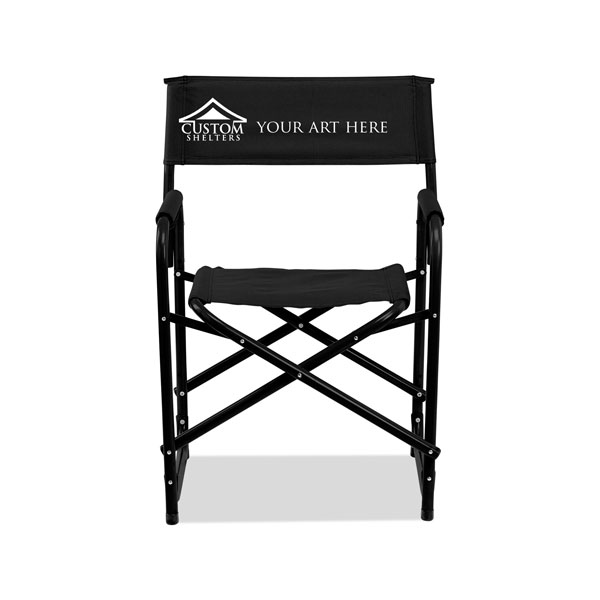 fusion directors chair in black with custom printed logo